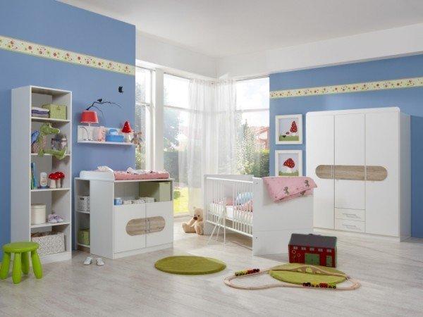 Babyzimmer Lilly in Weiß und Eiche San Remo von Wimex 7 teiliges Superset mit Schrank, Bett mit Latt