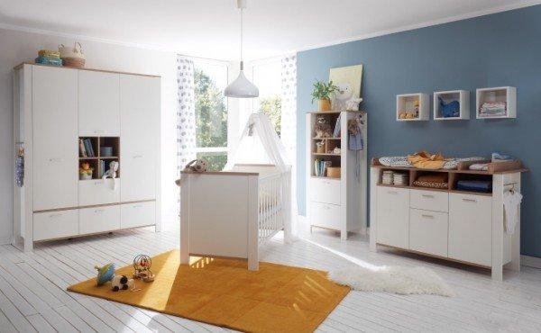 Babyzimmer Adele in Weiß- Asteiche von Mäusbacher 7 teiliges Megaset mit Schrank, Bett mit Lattenros