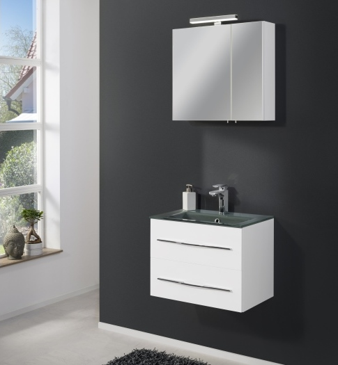 Badezimmer Gamma in Weiß mit Glaswaschbecken zum Bestpreis