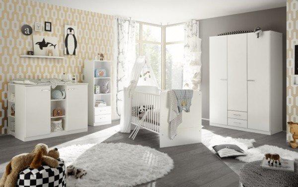 Babyzimmer Ella in Weiß 7 teiliges Megaset mit Schrank, Bett, Lattenrost und Umbauseiten, Wickelkomm