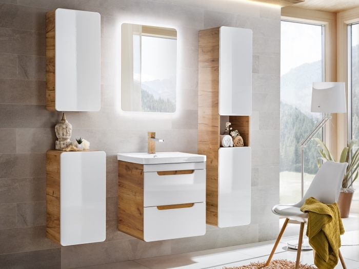Badezimmer Aruba in Eiche Glod Craft und Weiß Hochglanz- Megadeal!