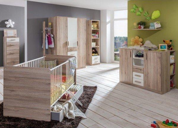 Babyzimmer Cariba in Eiche San Remo und Weiß von Wimex 9 teiliges Megaset mit Schrank, Bett mit Latt