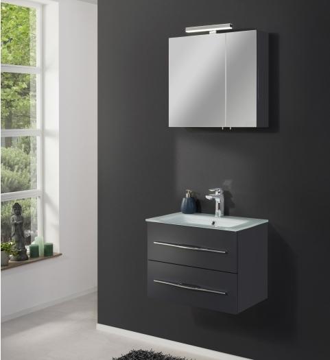 Badezimmer Gamma in Graphit mit Glaswaschbecken zum Bestpreis
